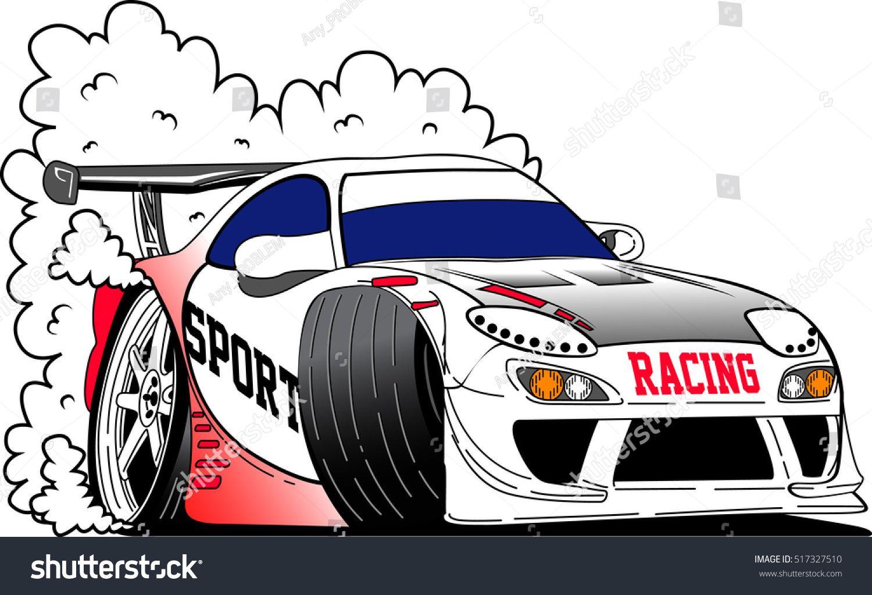Vector Racing Car Transportation Art In City