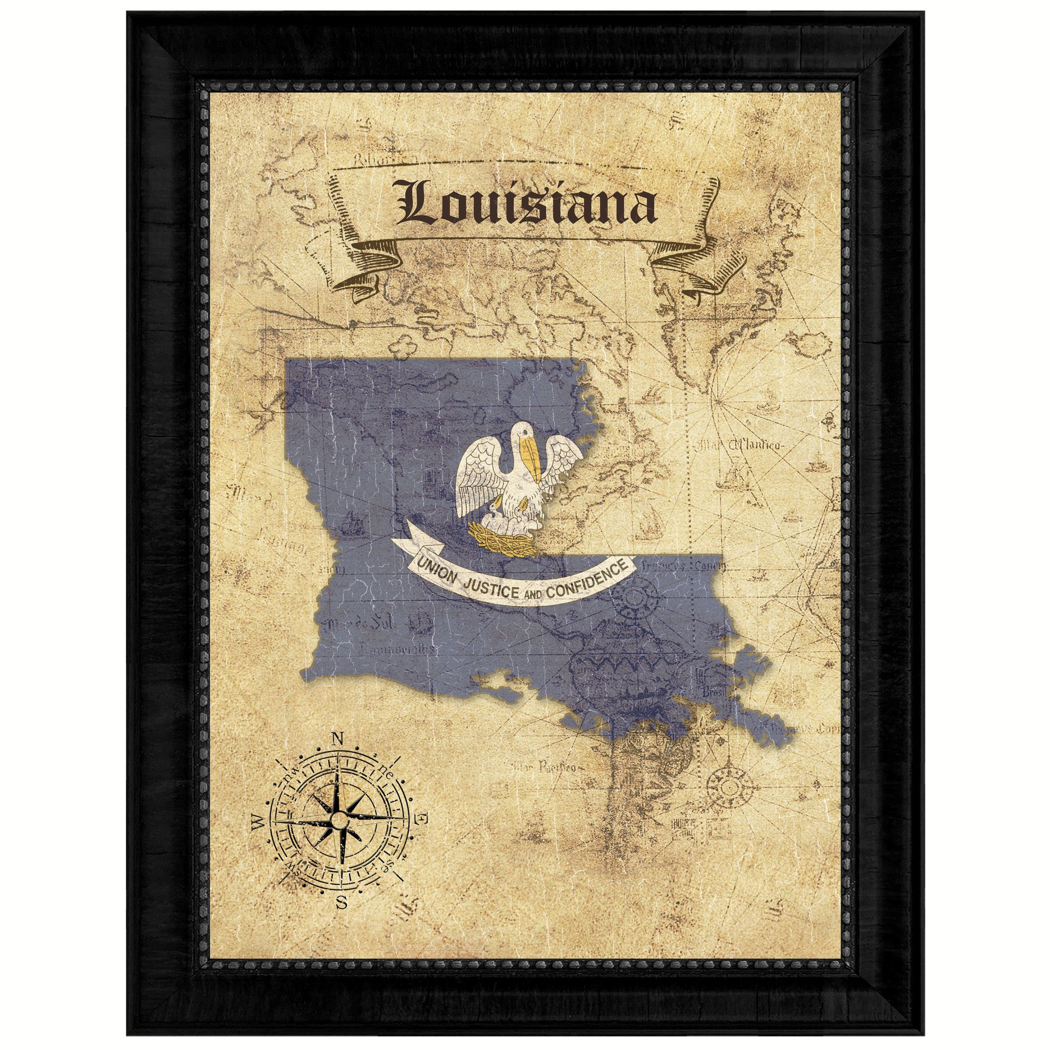 Louisiana State Vintage Map Gifts Home Decor Wall Art Office ...