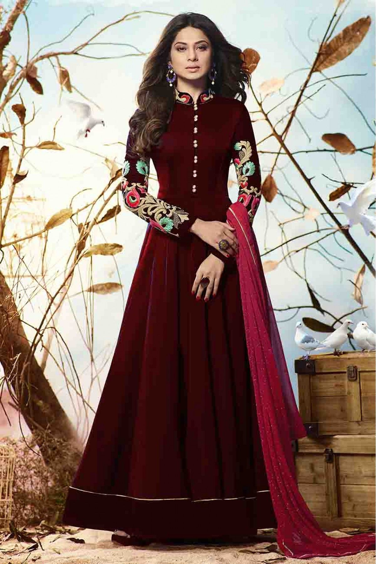 8266274fc5 Buy Jennifer Winget Faux Georgette Anarkali Suit In Maroon Colour for women  @ ninecolours.com. Worldwide Free Shipping Available! Love the colors