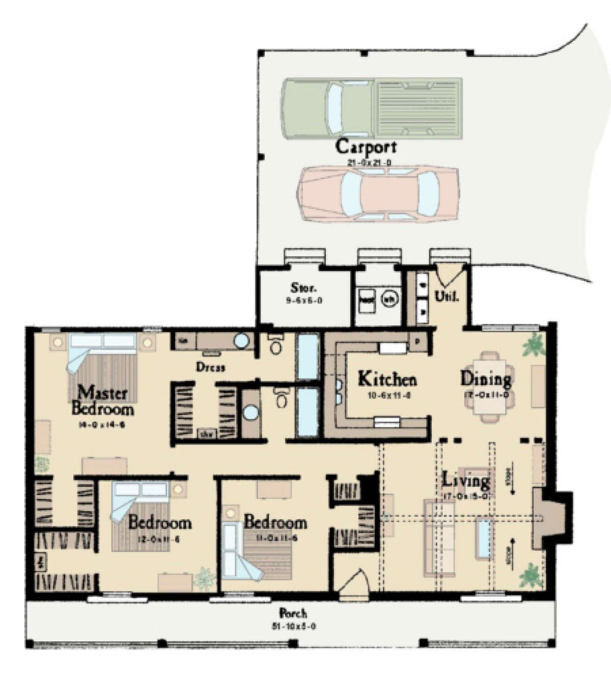 House Plan 046 00031 Ranch Plan 1 365 Square Feet 3 Bedrooms 2 Bathrooms House Plans Country Floor Plans Floor Plans