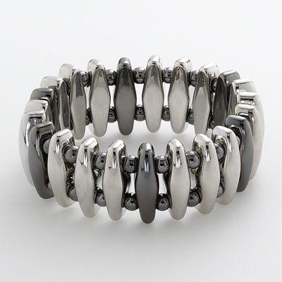 Two Tone Bar Stretch Bracelet - Kohls