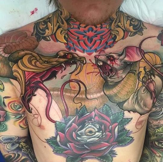Crazy Chest Piece By Josh Payne Tattoos Tattoos For Guys Neck Tattoo