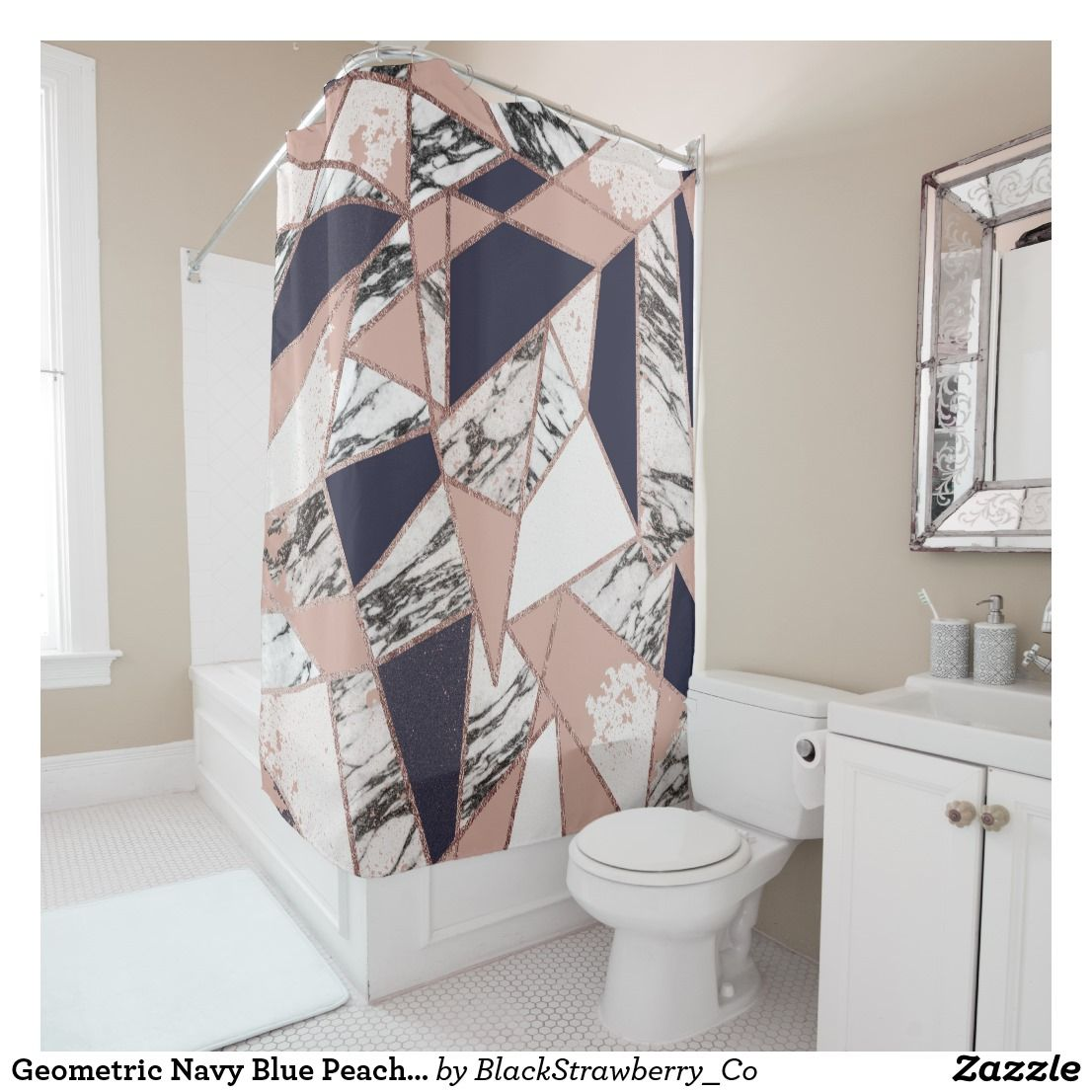 Geometric Navy Blue Peach Marble And Rose Gold Shower Curtain Zazzle Com Gold Shower Curtain Rose Gold Shower Curtain Bathroom Remodel Cost