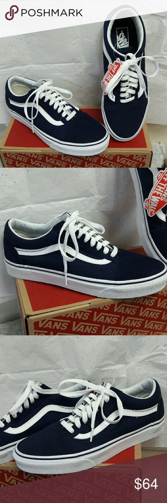 111f46acd328 VANS Old Skool Eclipse True WHT (Navy Blue) Brand New with Tags and Box!  Size 8.5 womens (mens 7) Color is Navy Blue and White! ... Ask me anything!  Vans ...