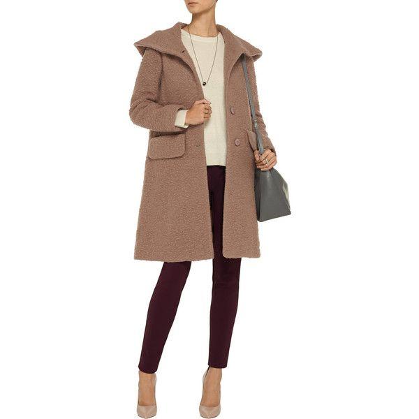Jill Stuart Dilan hooded wool-blend bouclé coat ($431) ❤ liked on ...