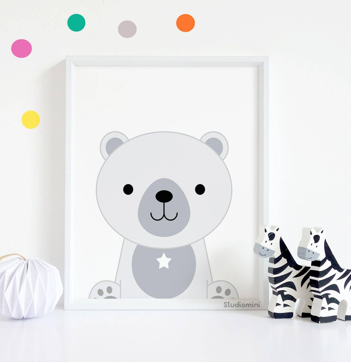 Polar Bear Nursery Print 50 Off Monochrome Decor Black And White