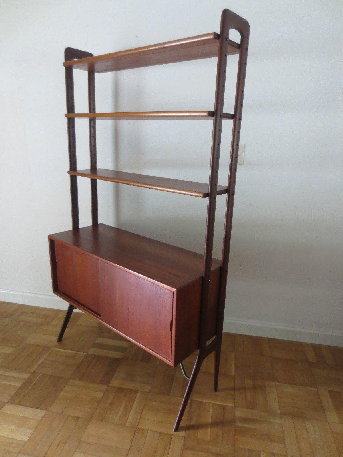 mid century modern bookcase bookshelf etagere credenza danish kurt ostervig teak