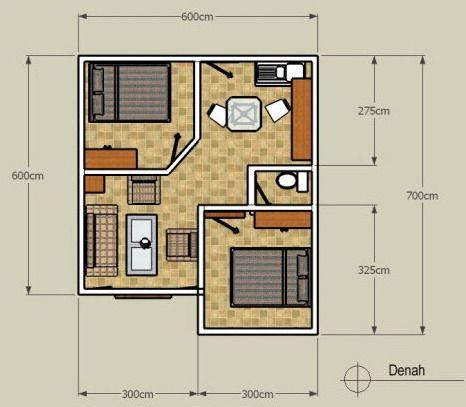Denah Rumah Minimalis 1 Lantai Tipe 36 Sederhana 2 Kamar