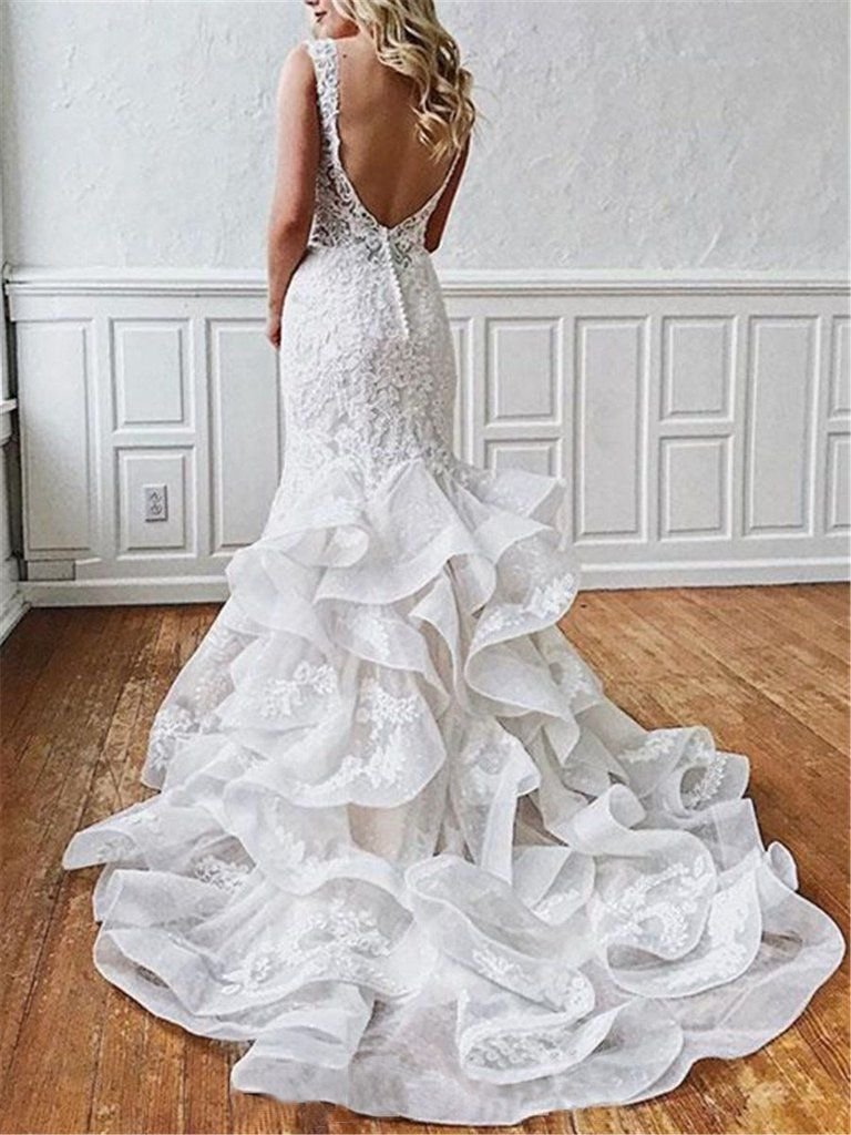 Stunning Mermaid Lace V Neck Backless Wedding Dresses Straps Wedding Gowns W1108 In 2021 Backless Lace Wedding Dress Backless Wedding Dress Backless Mermaid Wedding Dresses [ 1024 x 768 Pixel ]