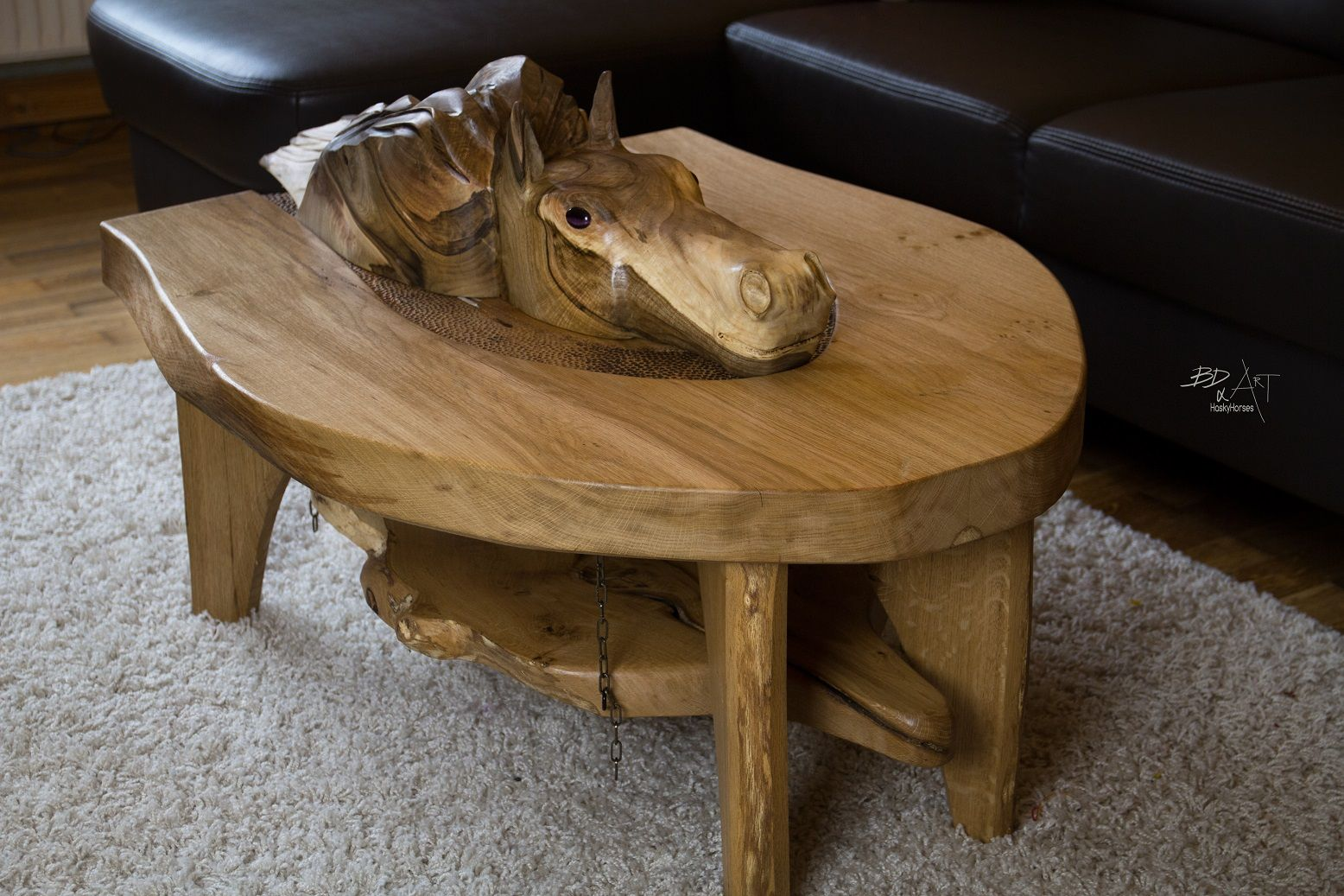 Couchtisch Montain Oak Oak Wood Couch Table With Carved Horse Head From Walnut