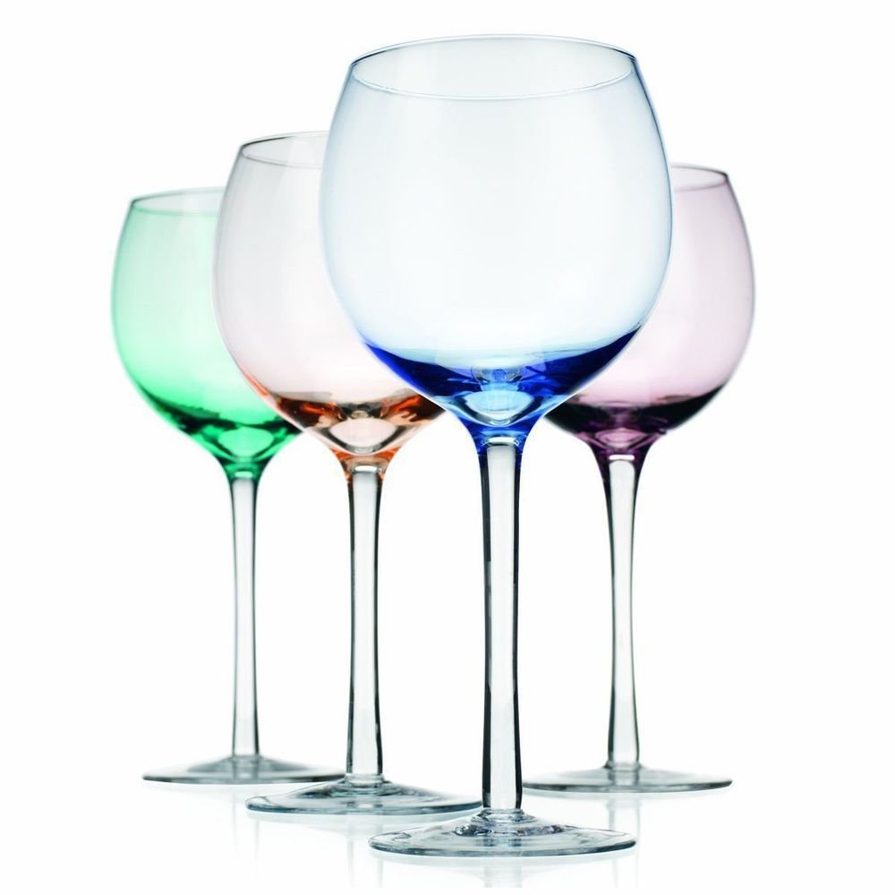 Home Essentials, Tuscana 16 oz Wine Goblets, SET of 4 Multi-colored ...