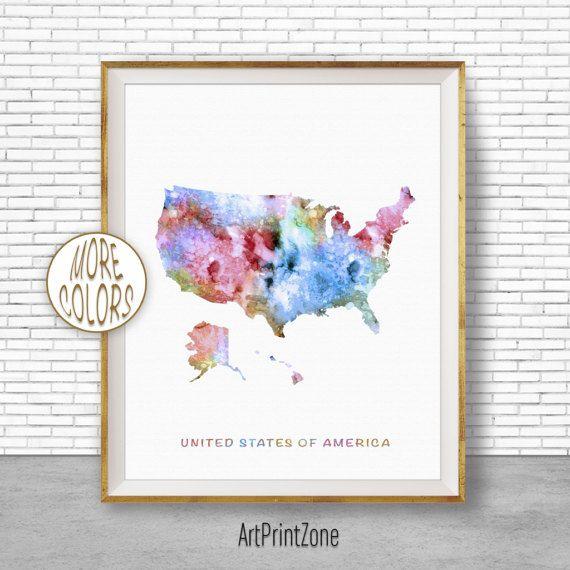 Map of USA Map Art Print United States Map USA Decor Office Print