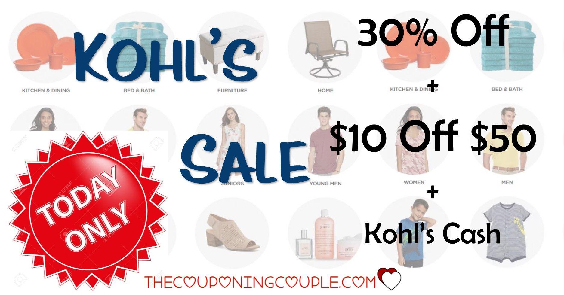 Kohls Sale 30 Off + Free Shipping + 10/50 Kohls Cash