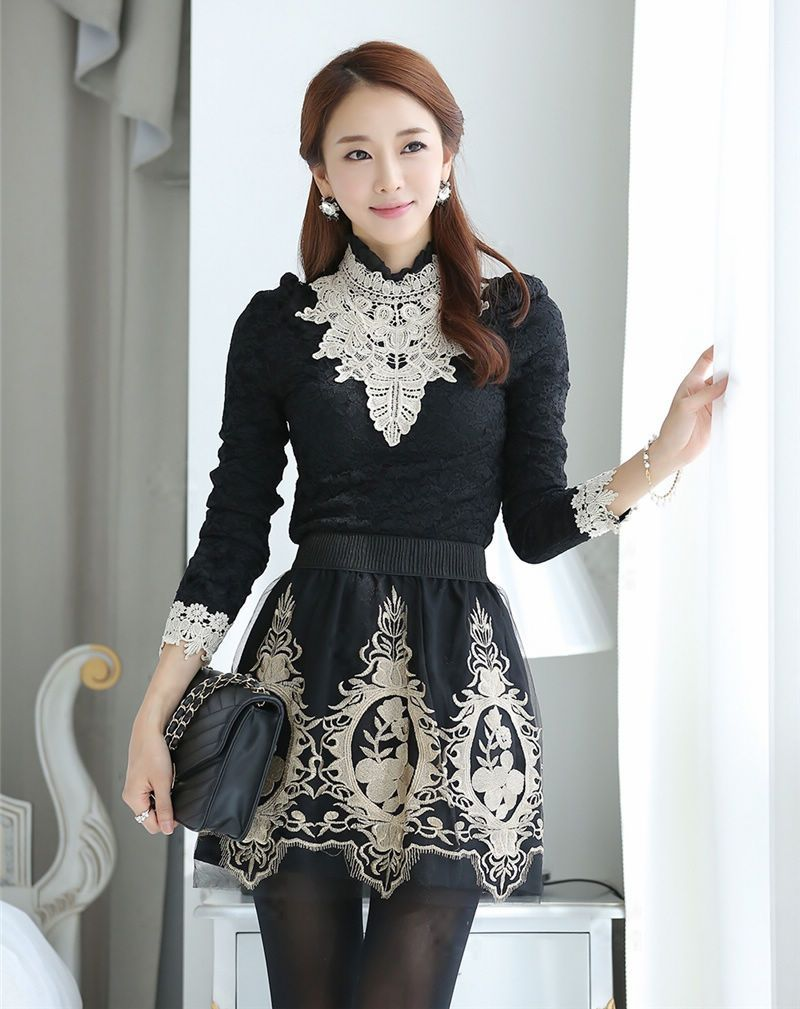 Gorgeous long sleeve black lace blouse dress to impress