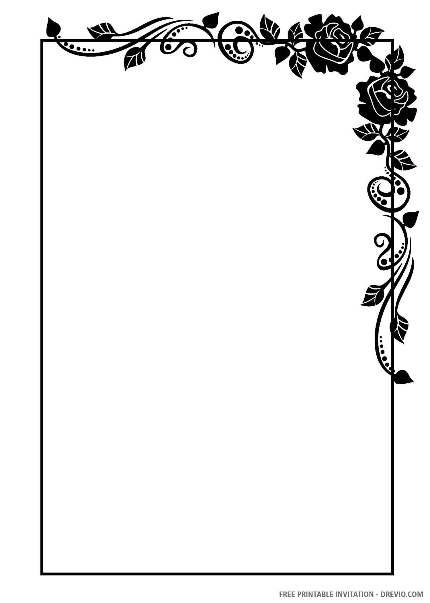 Free Printable Black And White Floral Wedding Invitation Templates Drevio In 2020 Wedding Invitations Borders Floral Wedding Invitations Designs Coloring Books