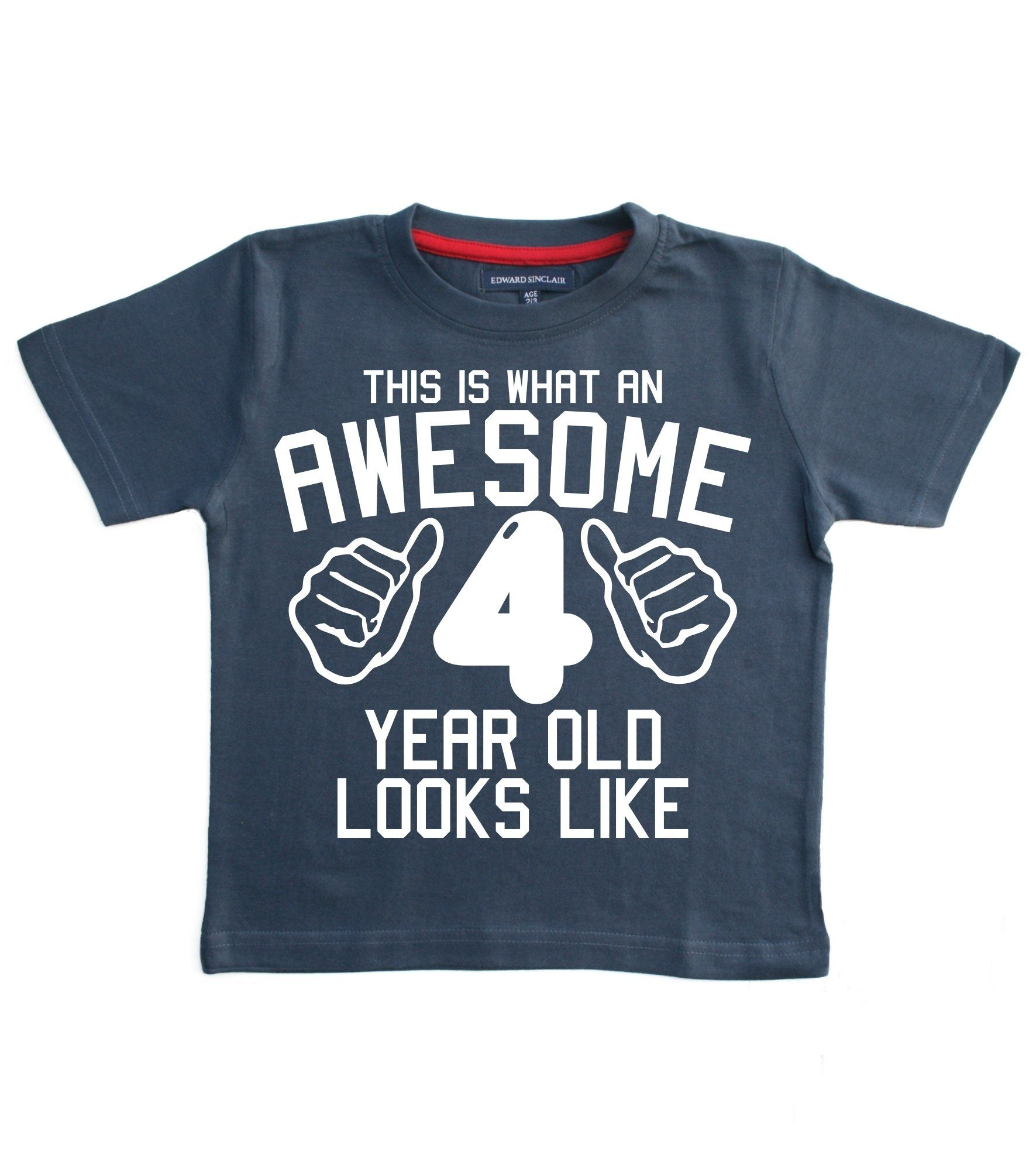 THIS WHAT AN AWESOME 4 YEAR OLD LOOKS LIKE Navy Boys 4th Birthday T Shirt In Size 3 Years With A White Print Edward Sinclair