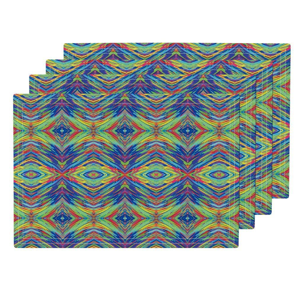 Lamona Cloth Placemats featuring The Eyes of a Rainbow Storm - Medium Scale by rhondadesigns   Roostery Home Decor
