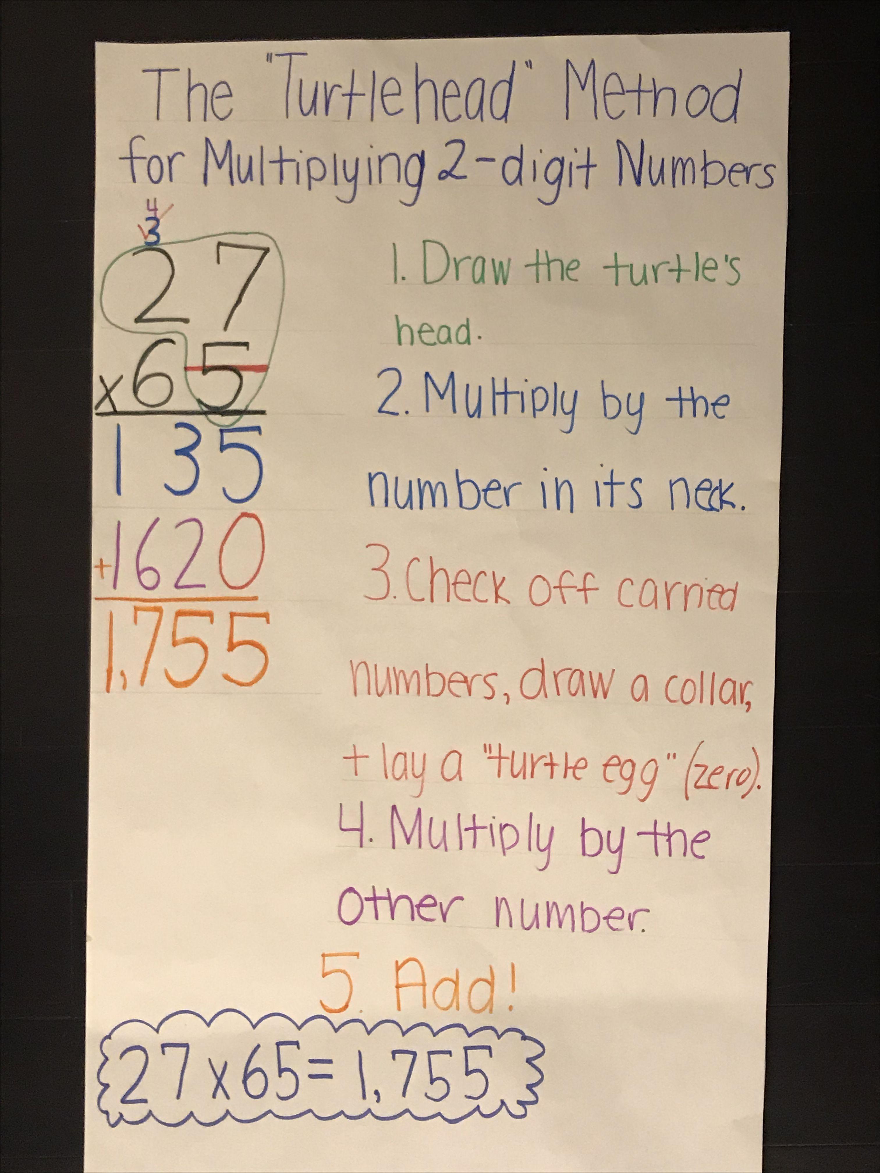 The Turtlehead Method For Solving 2 Digit Multiplication
