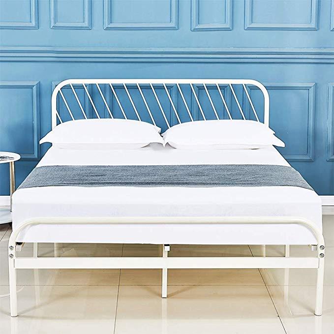 Amazon Com Sleepalace White Metal Platform Bed Frame Queen Size