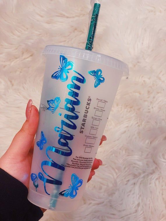 Butterfly Starbucks Cup   Name   Personalized Reusable Venti Starbucks Cold Cup   Custom Gifts   With Straw   Valentines Day   Kardashian