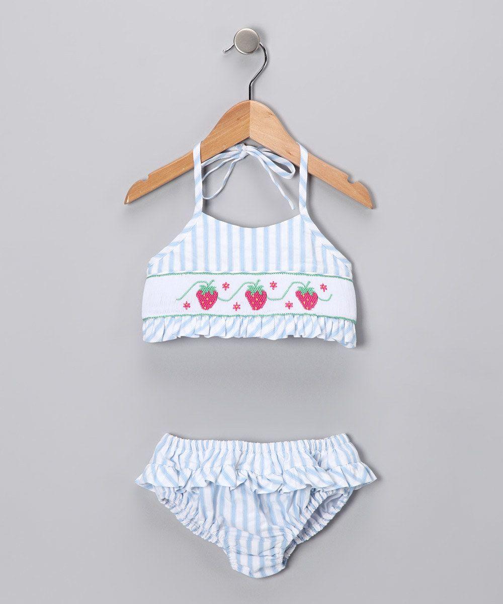 Blue Stripe Strawberry Bikini
