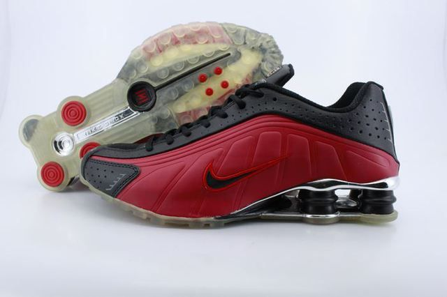 Men's Nike Shox R4 Black Red Transparent Sole Shoes