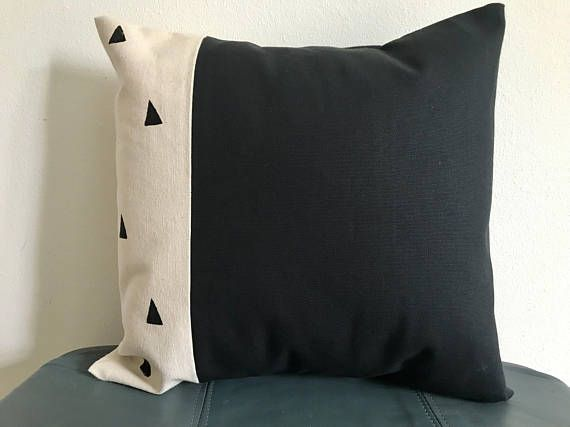 Black and Cream Triangle Canvas Throw Pillow