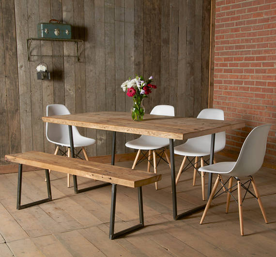 Hand Crafted Wood Dining Table With Steel U Base And Reclaimed Etsy Dining Table With Bench Modern Dining Table Industrial Dining Table