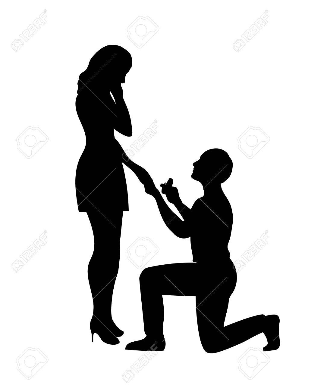 Man Makes A Marriage Proposal For A Girl Standing On One Knee Wedding Couple Cartoon Silhouette Marriage Proposals