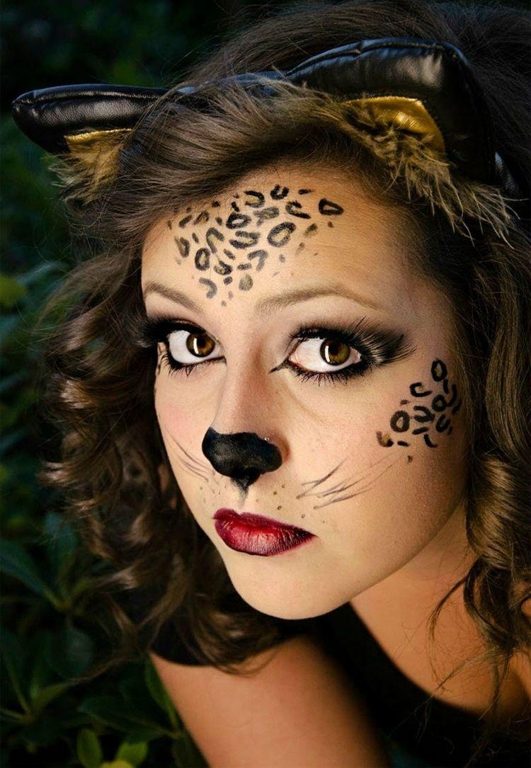 Leicht Leopard Schminken Tutorial Nase Stirn Augen Makeup Leopard