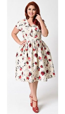 31a4c9b677 Hell Bunny Plus Size 1950s Style Cream   Red Florals Rosemary Swing Dress