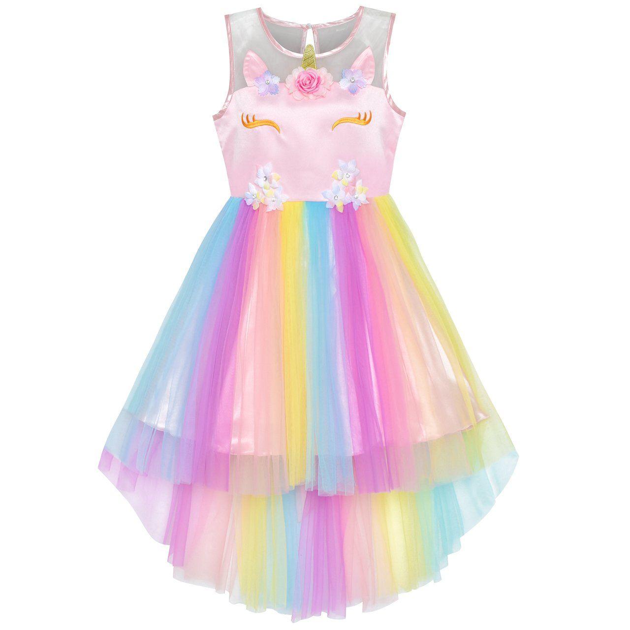 Flower Girls Dress Unicorn Rainbow Halloween Costume Party