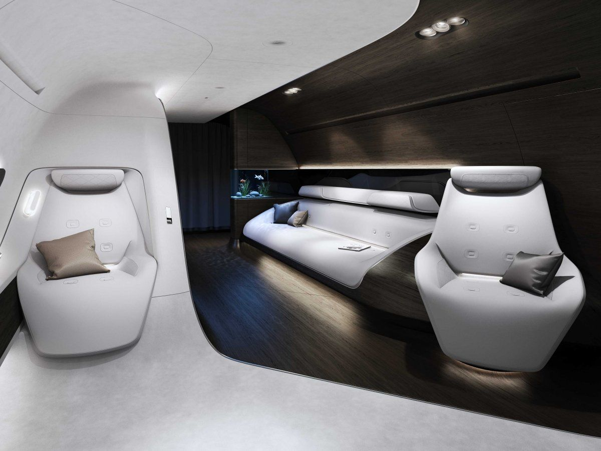 Private jet interior furnished like a vintage train aviation - Mercedes Benz And Lufthansa Are Designing The Ultimate Luxury Private Jet Interior