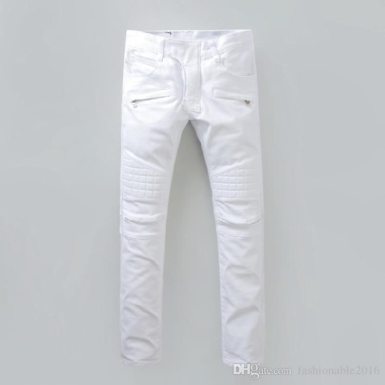 658e7566b02 Plus 40 Size New Luxury Balmain Jeans Men Brand Designer Denim Skinny Jeans  Fashion White Jeans Men Robin Jeans