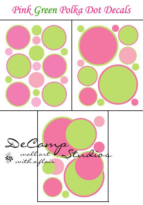 Pink and Green Polka Dot wall decals for baby girls nursery, kids ...