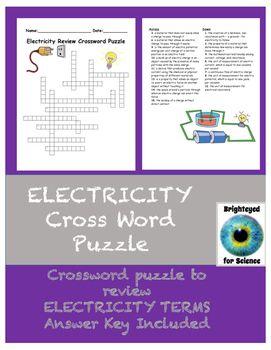 Electricity Review Crossword Puzzle Crossword Puzzle Crossword Puzzles Science Resources