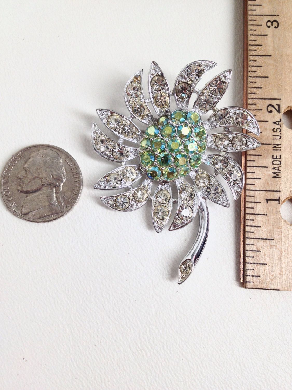 Vintage Rhinestone Brooch Earrings Set Sarah Coventry Mountain Flower Aurora Borealis Peridot Green 1968
