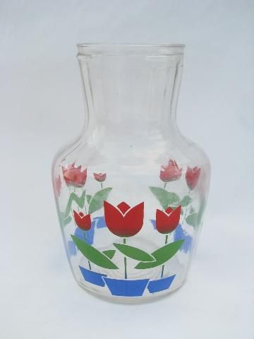 tulips vintage tulip pattern kitchen glass juice bottle refrigerator carafe