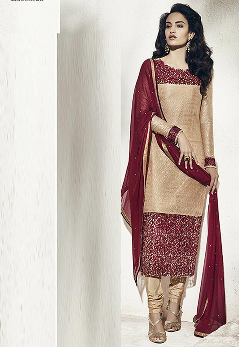 Beige And #Maroon #Rachel #Net #Chuddidar #Kameez with #Dupatta  Beige And Maroon Rachel Net kameez designed with Heavy Zari,Resham Embroidery With Stone Work And Lace Border Work. Available with Beige Santoon Bottom.  INR : 2,434.00  Grab : http://tinyurl.com/h6kb98s