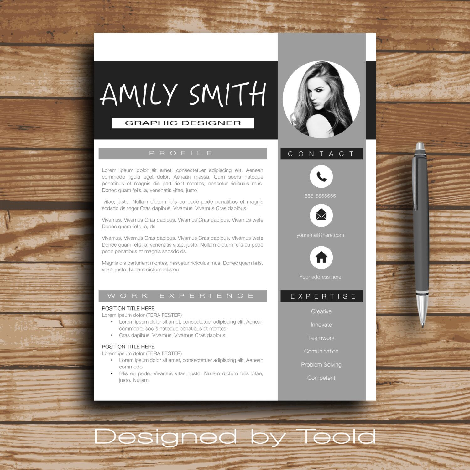 Modern Resume Template  Cv Template  Cover Letter  Professional