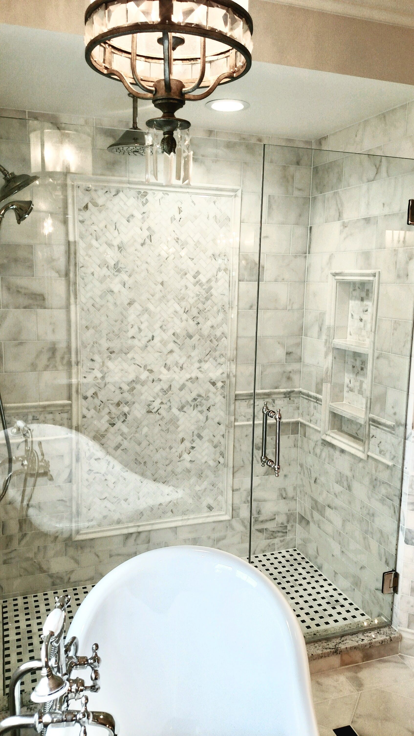 calacatta gold marble shower white