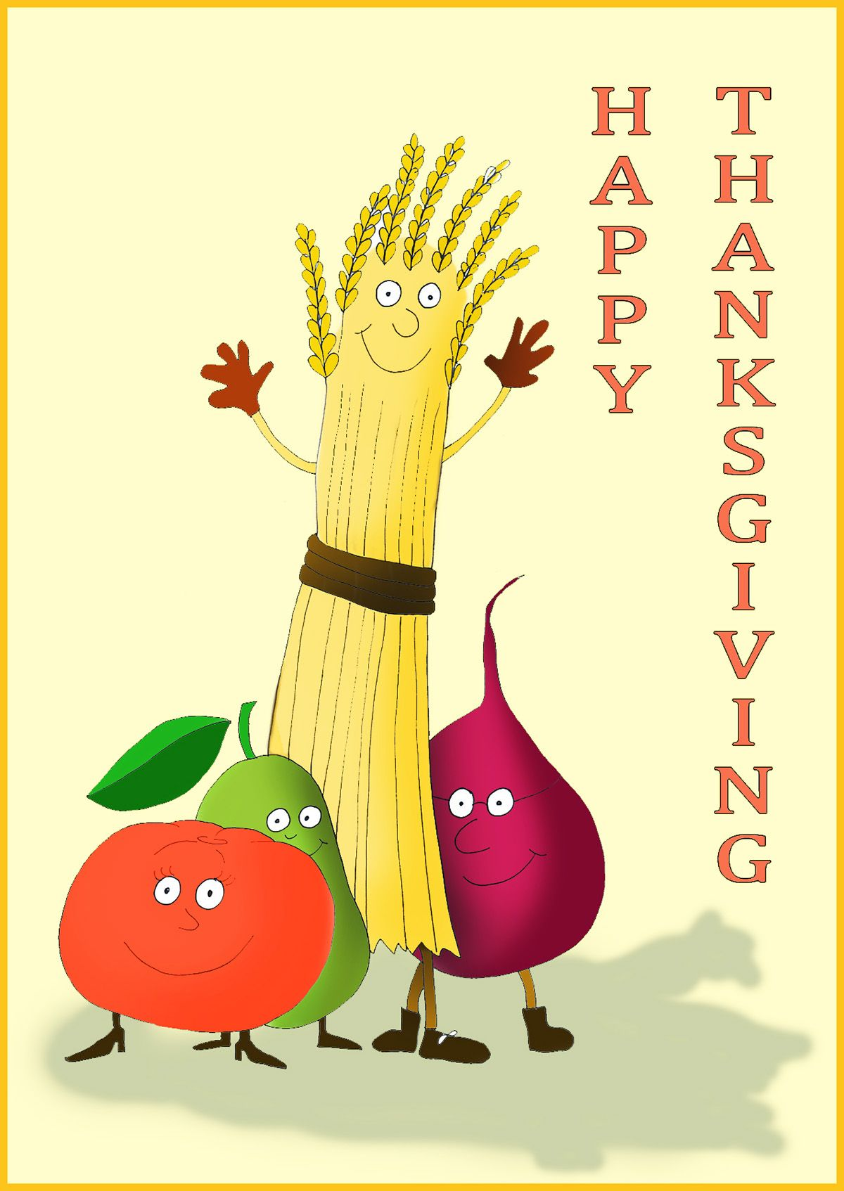 Happy Thanksgiving Card With Live Vegetables