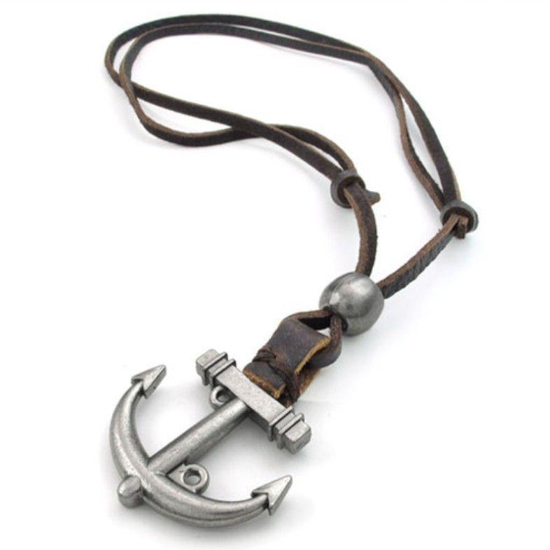 Alloy Anchor Pendant Leather Necklace
