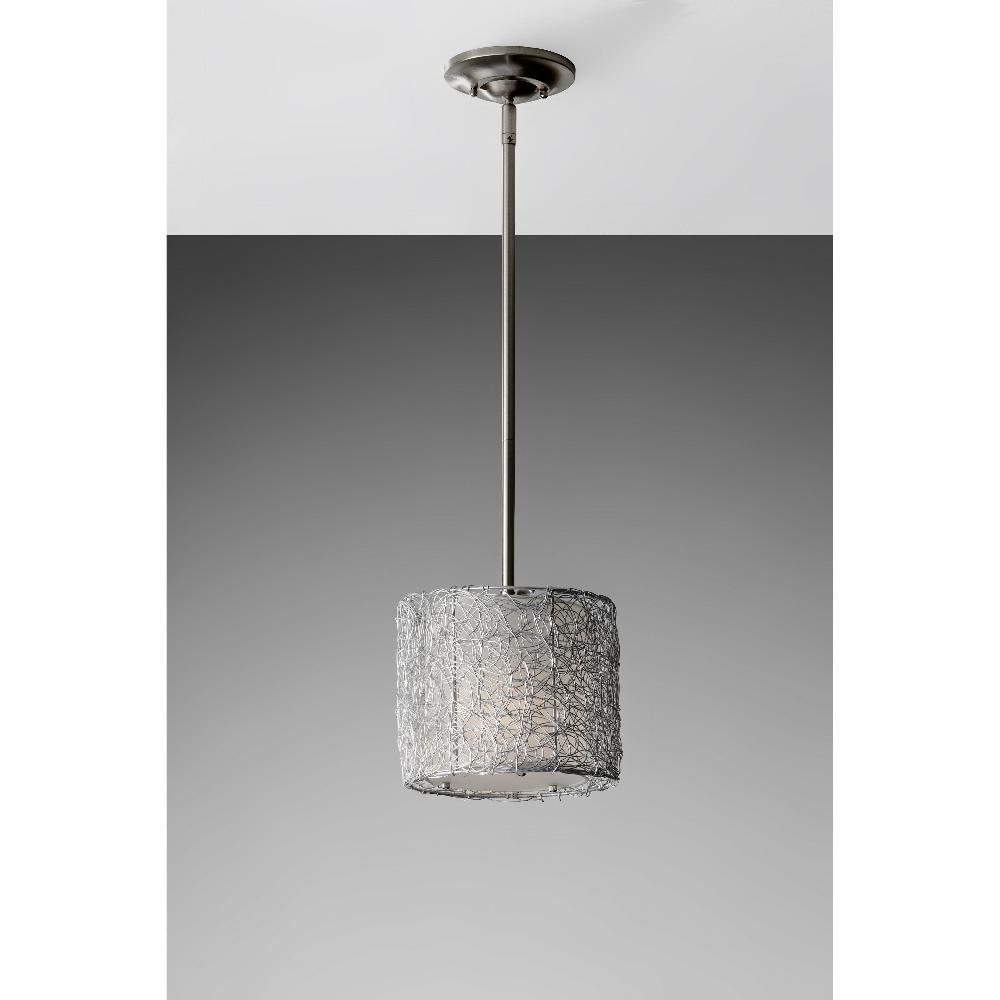 Feiss wired p1250bs mini pendant 8w in brushed steel p1250bs one light brushed steel silver organza fabric shade drum shade mini pendant aloadofball Gallery
