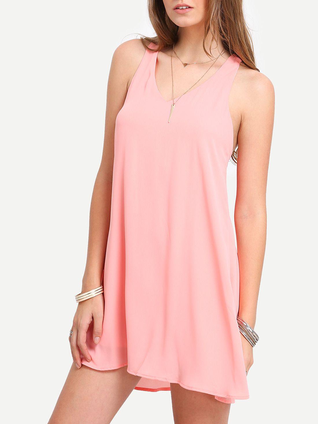 Shop Pink Sleevelss V-neck Shift Dress online. SheIn offers Pink ...