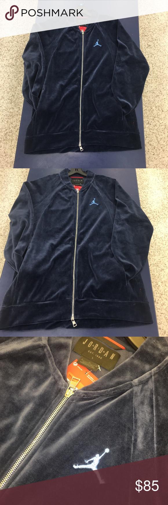 94995b51c15db0 Air Jordan Velour Jacket Blue Sky Blue Black Large Air Jordan Velour Jacket  Brand New With