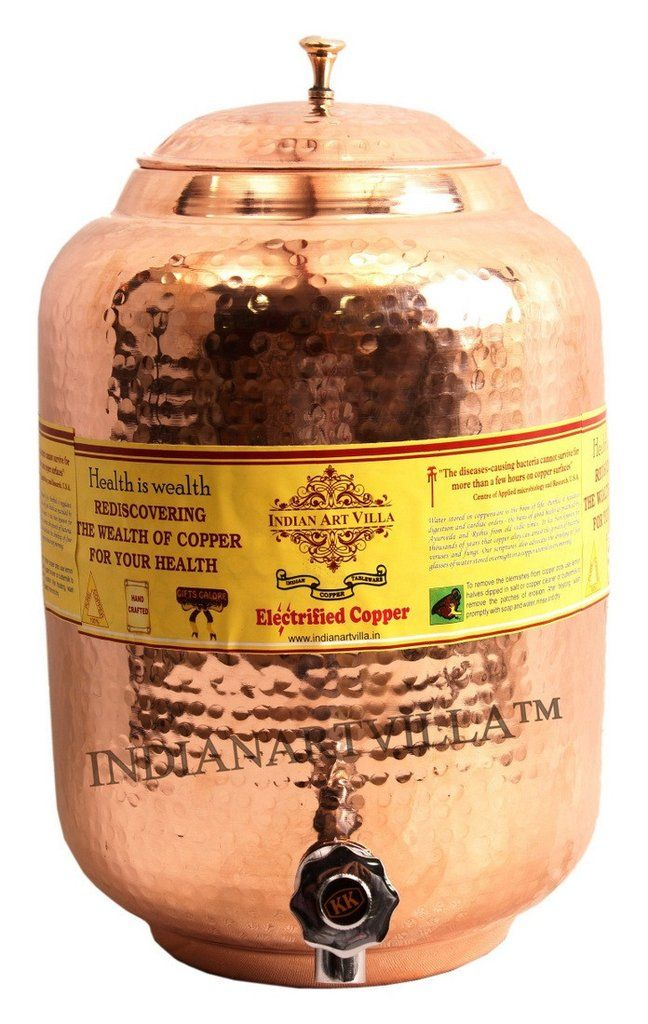 Storage Water 18 LTR Hammered Copper Water Dispenser Container Pot Tank Matka
