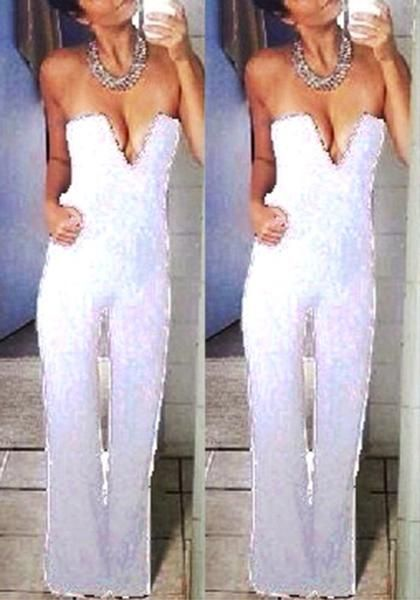 34b4f6bb2e White Plain Pockets Zipper High Waisted Long Jumpsuit