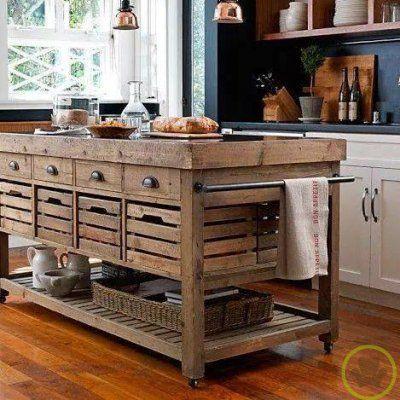 Isla para la cocina de madera maciza casas pinterest for Cocinas antiguas recicladas