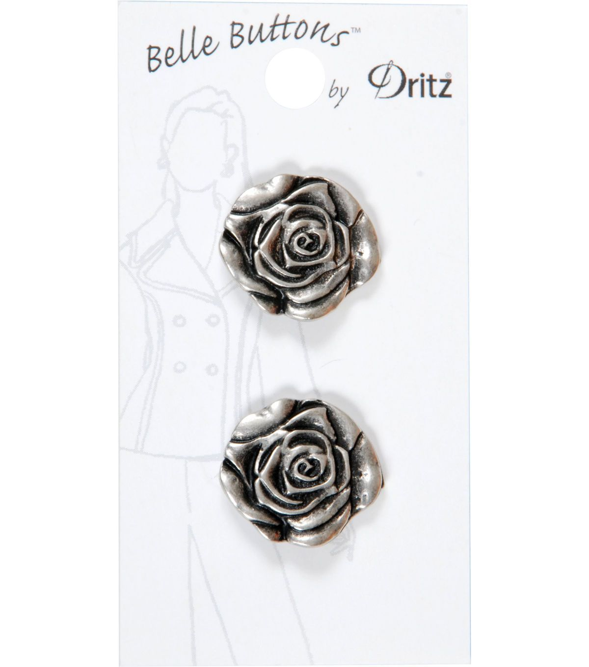 Dritz Belle Button 23mm Metal Rose Silver   Products   Pinterest